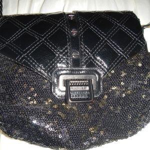 Rachel Roy Black/Gold Sequin Evening Bag